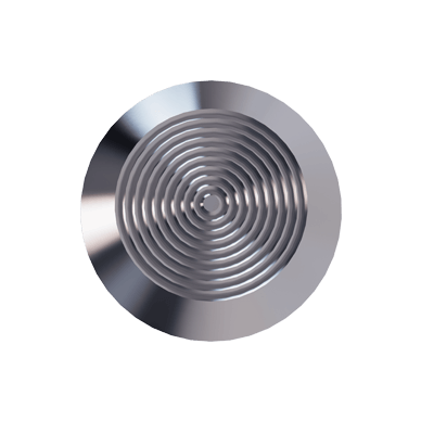 Stainless Steel Tactile Warning Stud With Concentric Rings pattern on Top & Hollow Back