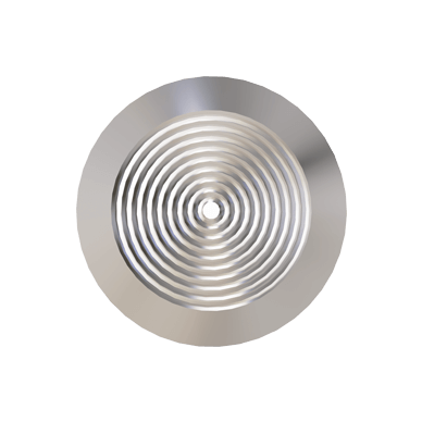Stainless Steel Tactile Warning Stud With Concentric Rings pattern on Top, Hollow Back & Poly Sleeve