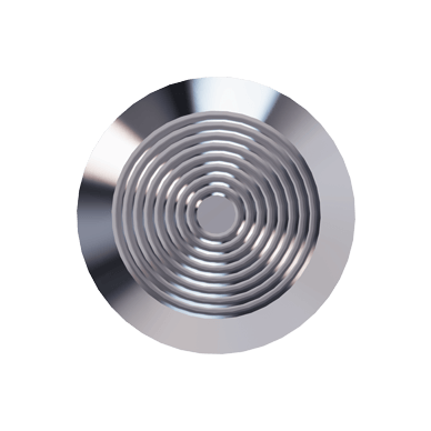 Stainless Steel Tactile Warning Stud With Concentric Rings Pattern on Top with Circular Center